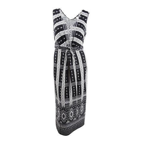 NY Collection Women's Plus Size Printed Knot-Front Maxi Dress - Black Encyclopedia