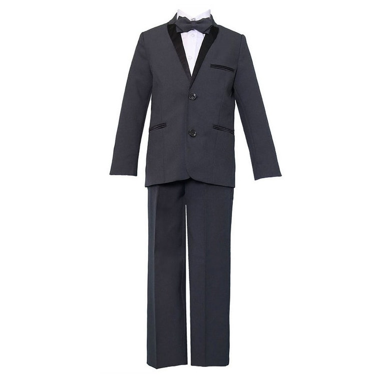 Angels Garment Little Boys Black Pinstripe Jacket Pants Vest Shirt Tie Suit 2-7