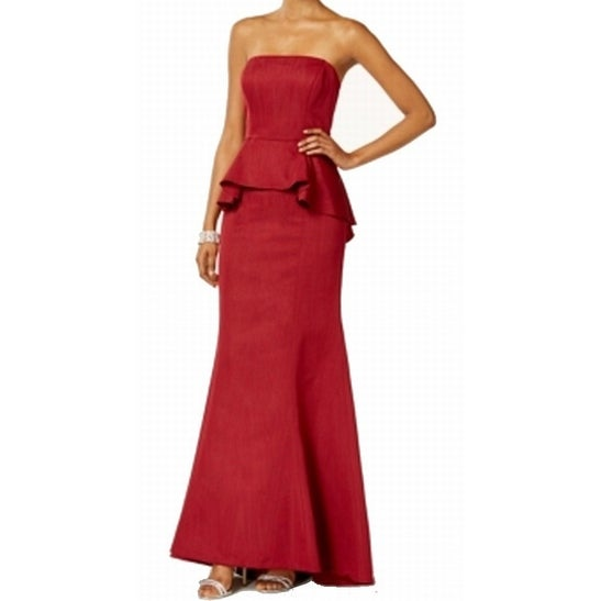 Shop Adrianna Papell New Red Womens Size 16 Peplum Evening Ball