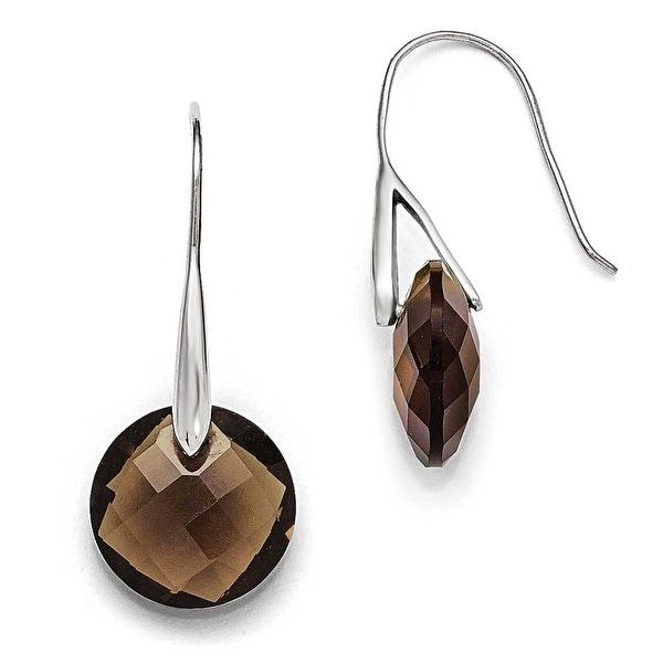 Chisel Stainless Steel Polished Dark Brown Glass Shepherd Hook Earrings