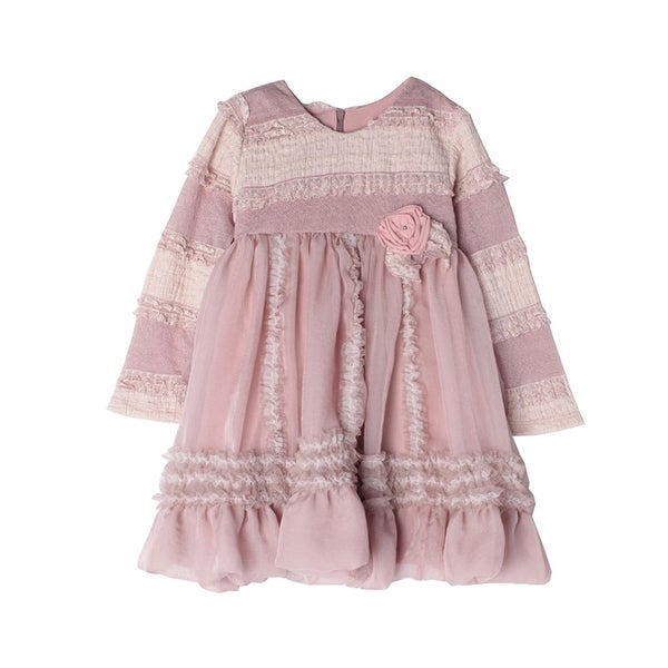 Isobella & Chloe Baby Girls Rosy Mauve Amelia Ruffle Empire Waist Dress