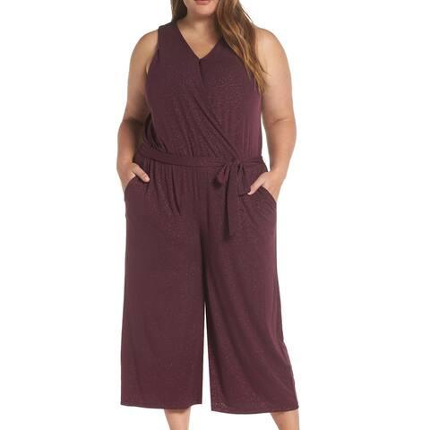 Michael Kors Womens Jumpsuit Purple Size 2X Plus Surplice Shimmer