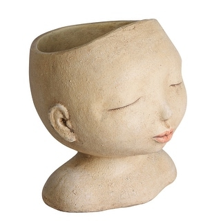 """Link to Art & Artifact Head of a Lady Indoor/Outdoor Planter - Handpainted Zen Buddha Face of Resin - Plants Look Like Hair, 9"""" Tall Similar Items in Planters, Hangers & Stands"""