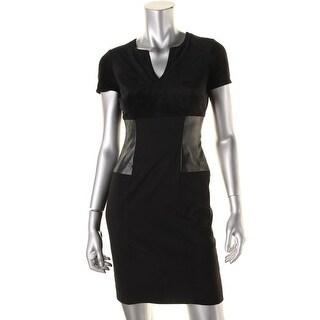 Calvin Klein Womens Petites Cocktail Dress Faux Suede Faux Leather Trim