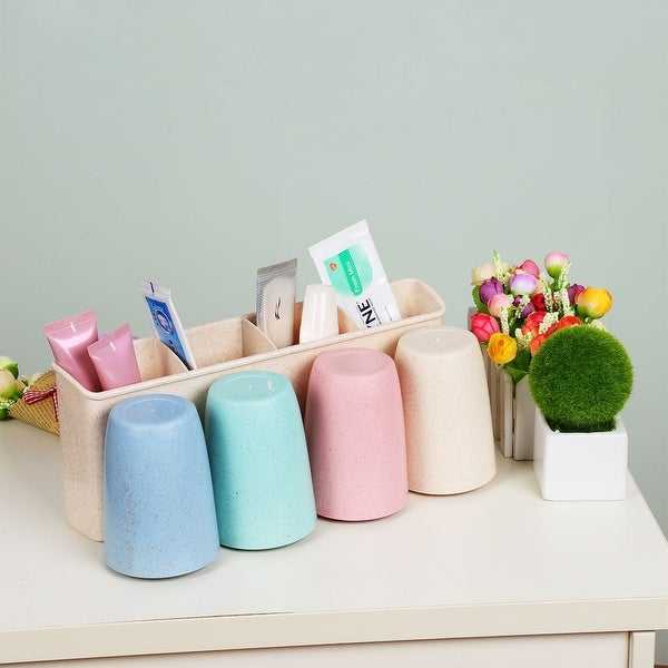 Toothbrush Holder Wall Mounted with Sticker for Couple Bathroom Organizer
