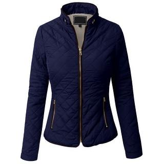 NE PEOPLE Womens Lightweight Wool Lined Quilted Zip Jacket (NEWJ48)
