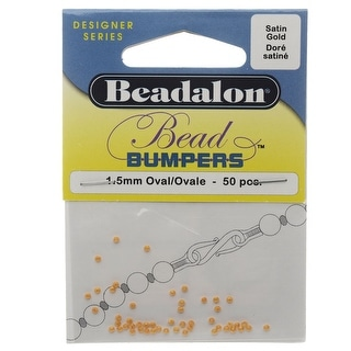 Beadalon Bead Bumpers, Round Silicone Spacers 1.5mm, 50 Pieces, Satin Gold
