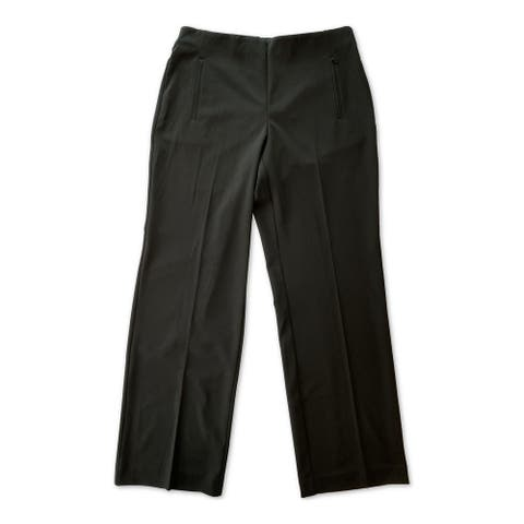 ALFANI Womens Black Pocketed Wide Leg Wear To Work Pants Size L