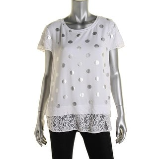 Kensie Womens Juniors Metallic Short Sleeve Pullover Top
