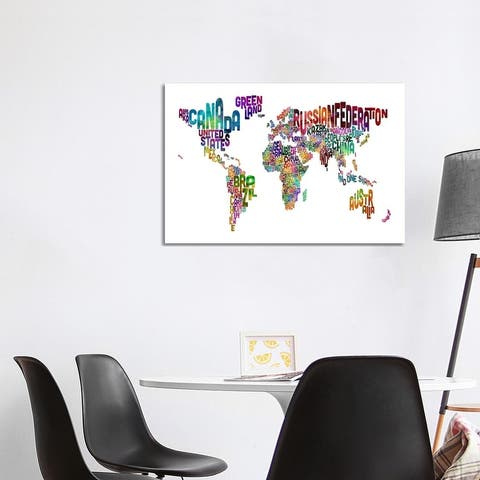 """iCanvas """"World (Countries) Typographic Map II"""" by Michael Tompsett Canvas Print"""