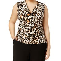 Calvin Klein Brown Women's Size 1X Plus Leopard Split Neck Blouse