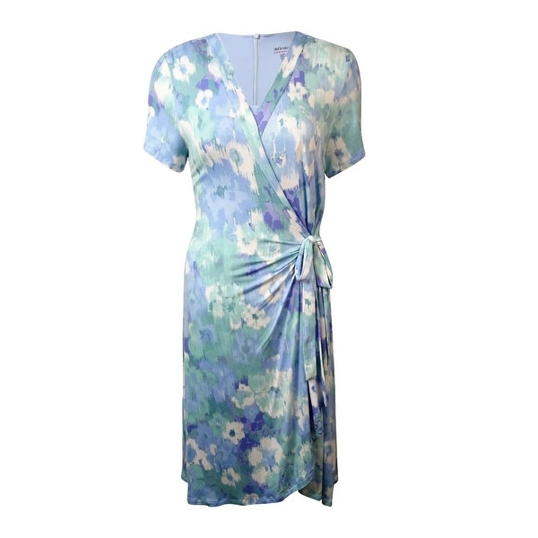 Miraclesuit Woman's Floral Print Jersey Dress - corydalis blue