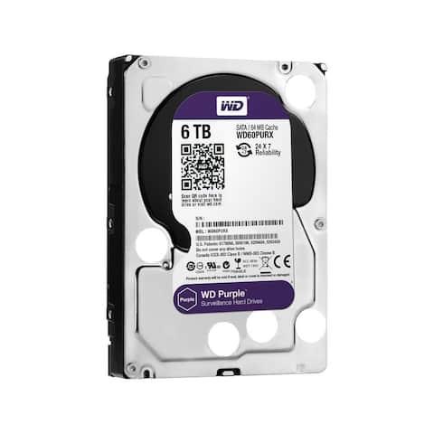 """WD Purple WD60PURZ 6TB Surveillance 3.5"""" Internal HDD - SATA 64 MB Buffer 1Pack"""