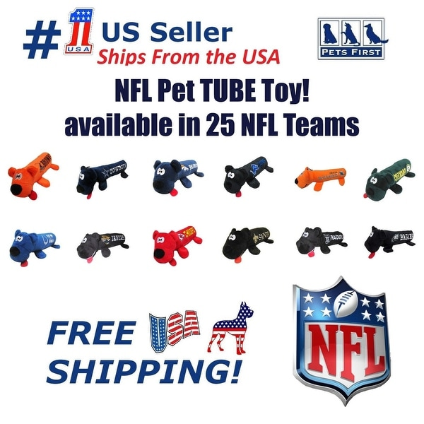959f77b99 NFL DOG TOY - Licensed Tube Toy. Soft Plush with 2 inner Squeakers.