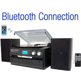 7-in-1 Boytone BT-24DJB Turntable with Bluetooth Connection, 3 Speed 33, 45, 78 Rpm, CD, Cassette Player AM, FM USB, SD Slot, Au