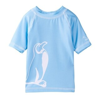 Azul Little Boys Light Blue Penguin Print Freeze Drawstring Swim Shorts