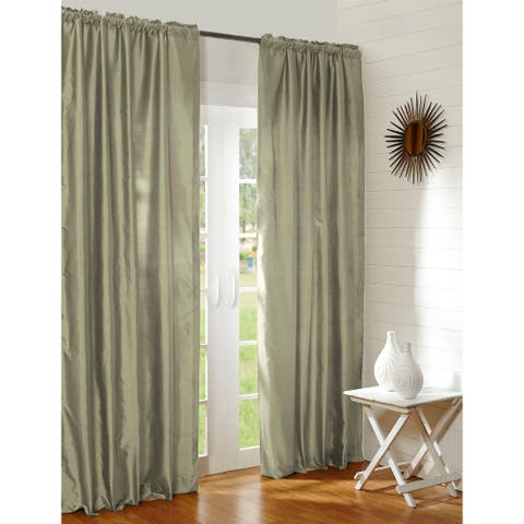 Radia Laurel Green Silk Rod Pocket 108 Inch Single Curtain Panel