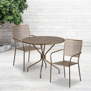Link to 35.25'' Round Indoor-Outdoor Steel Patio Table Set with 2 Square Back Chairs Similar Items in Outdoor Dining Sets