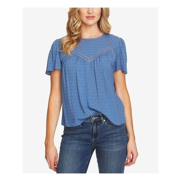 CECE Womens Blue Crochet Trim Jacquard 3/4 Sleeve Blouse Top Size M