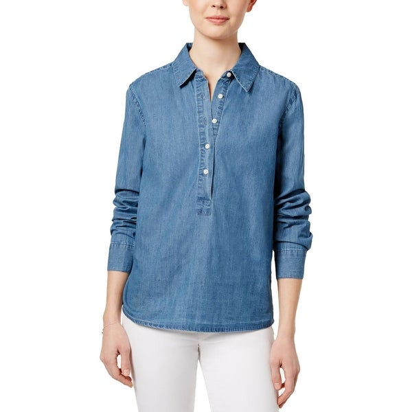 3a54bc2d Shop Joe's Womens Vic Denim Shirt Tie-Back Long Sleeves - Free Shipping On  Orders Over $45 - Overstock - 21797679