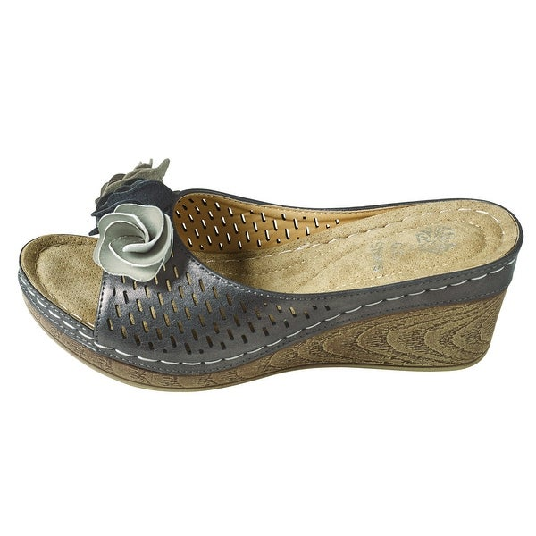 Women's Shoes - Metallics Rosette Wedge Heel Slides