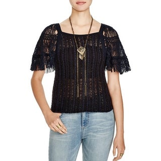 Free People Womens Sweater Open Stitch Cap Sleeves