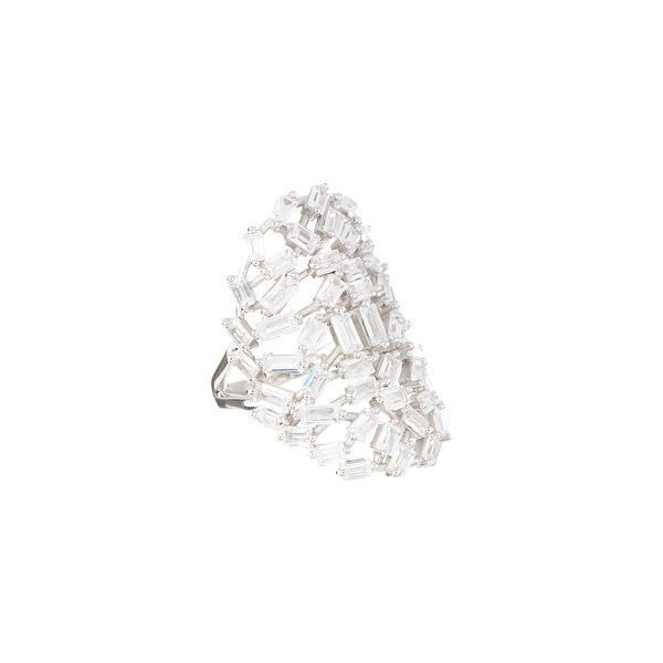 Sterling Silver Baguette-Cut Cluster Ring