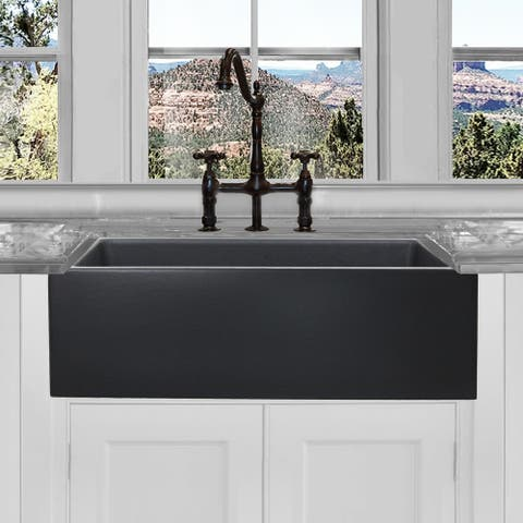 Highpoint Collection Reversible 33-inch Matte Dark Grey Fireclay Farmsink