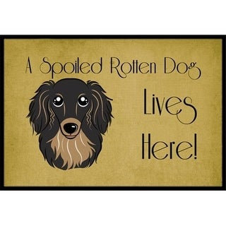Carolines Treasures BB1461JMAT Longhair Black And Tan Dachshund Spoiled Dog Lives Here Indoor & Outdoor Mat 24 x 36 in.