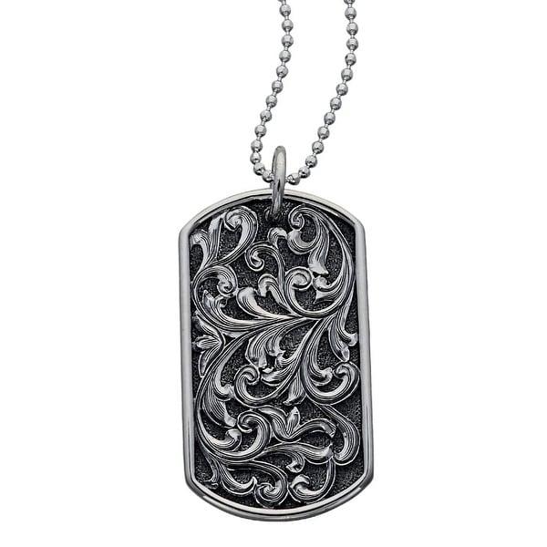 "Vogt Western Women Necklace Scrolls Dog Tag Pendant 24"" Silver 016-320"