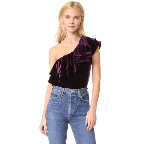 Misa Los Angeles Women's Agus One-Shoulder Velvet Top, Plum, S