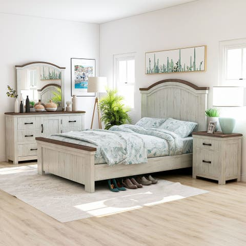Furniture of America Ynez Transitional White 4-piece Bedroom Set