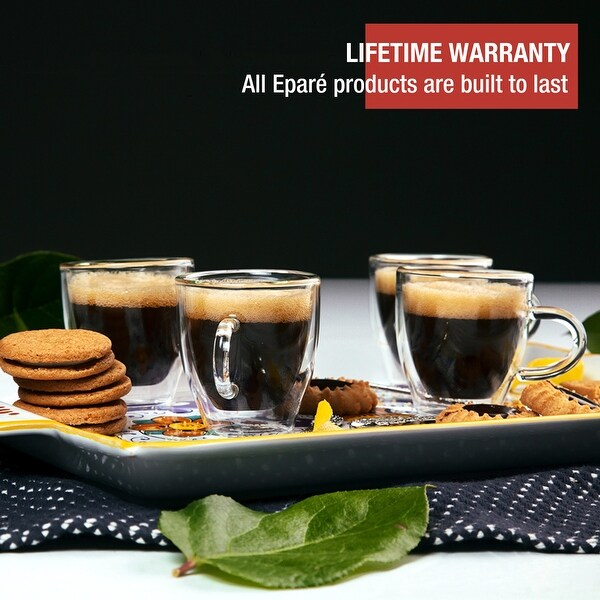 Epare Insulated Espresso Cups, 4 Double Wall Glass Demitasse Mugs, 2oz. Opens flyout.