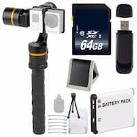 ikan 3-Axis Gimbal Stabilizer for GoPro + Replacement Lithium Ion Battery + 64GB SDXC Memory Card + Memory Card Wallet Bundle