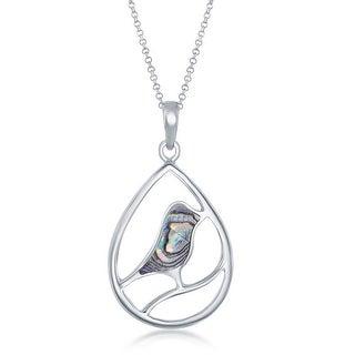 925 Sterling Silver Abalone shell pendant Box Diamond Cut 18 Inch Curb Chain