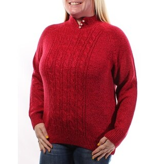Womens Red Long Sleeve V Neck Casual Sweater Size L