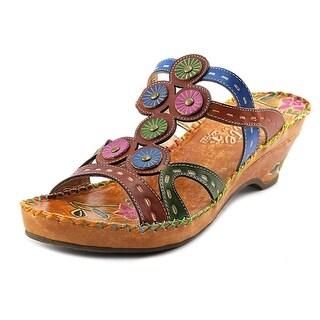Corkys Elite-Imagination Women Open Toe Leather Multi Color Wedge Heel