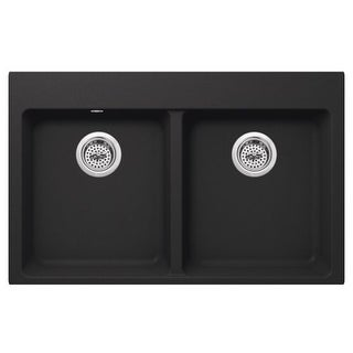 """Miseno MGR33225050 Carolina 33"""" Double Basin Granite Composite Kitchen Sink with 50/50 Split - Compatible with Drop-In, (4 options available)"""