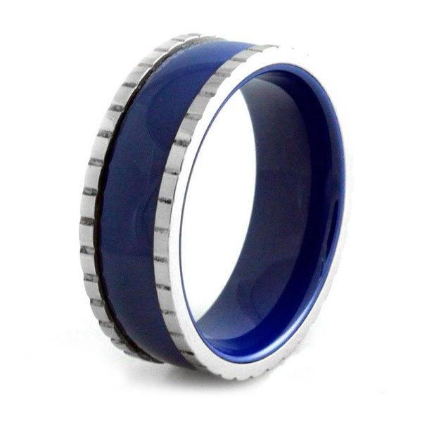 Stainless Steel Ceramic Royal Blue Ring w/ Block Edges