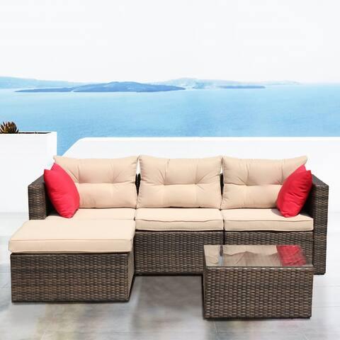 Nestfair Rattan Patio Furniture Set Wicker Sofa Cushioned Sectional Furniture