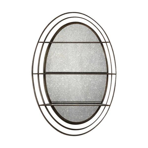 "36"" Bronze Antique Mirrored Wall Shelf - Gold - N/A"