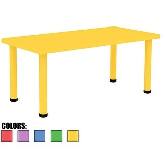 "2xhome - Yellow -Kids Table- Height Adjustable 18.25 "" to 19.25""Table"