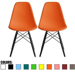 2xhome Set Of Two (2)- Eames Style Bedroom & Dining Room Side Ray Chair with Eiffel Dark Wood Dowel Dark Leg Base