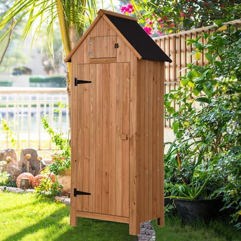 "MCombo 70"" Arrow Shed with Single Door Wooden Garden Shed Wooden lockers w/ Fir wood"