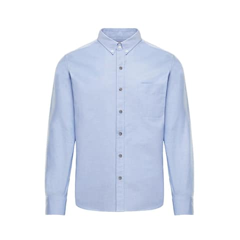 Moncler Mens Solid Light Blue Button Down Oxford Shirt