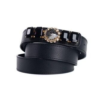 Roberto Cavalli Black Saffiano Leather Jewel Embellished Belt