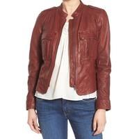 Hinge Raisin Brown Womens Size Medium M Patch-Pocket Moto Jacket