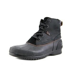 Sorel Ankeny Men Round Toe Leather Black Boot