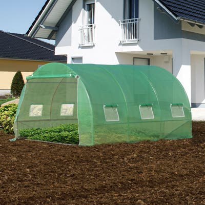 Outsunny 10' x 10' x 7' Walk-in Tunnel Greenhouse with High-Quality Transparent PE Cover, Zipper Doors, & Windows
