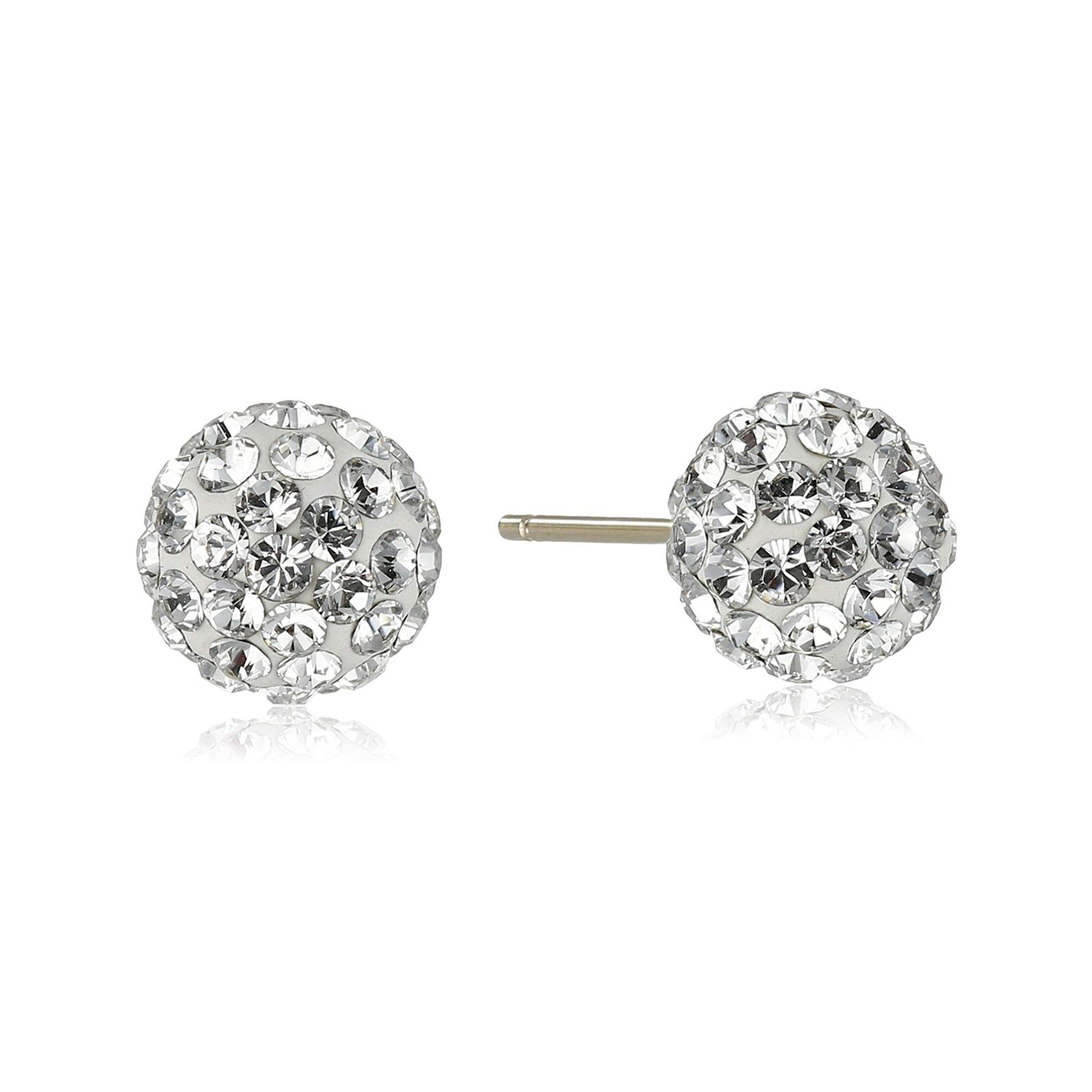 Crystaluxe Ball Stud Earrings With Swarovski Crystals In 14k Gold